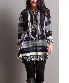 Another great find on #zulily! Blue Southwest Notch Neck Tunic - Plus by Reborn Collection #zulilyfinds