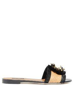 DOLCE & GABBANA Fringed raffia slides. #dolcegabbana #shoes #sandals