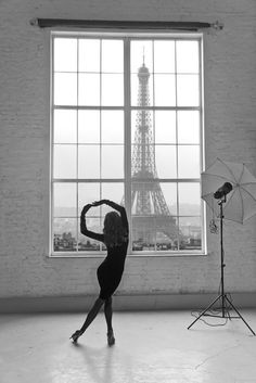 Inspiration, dance, eiffel tower, silhouette, black and white
