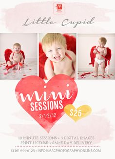 little cupid valentine's day mini portrait sessions