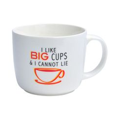 This Pfaltzgraff Everyday I Like Big Cups And I Cannot Lie Mug features a whimsical saying and is the perfect size for cappuccino. Also great for an extra large cup of coffee...