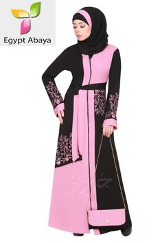The gorgeous embroidery made on the bust and sleeve will make you look stunningly unique. You can get a beautifully embroidered scarf of the same material to show that you are well-ordered. Muslim Dress Code, Black Abaya, Islamic Clothing, Abaya Fashion, Muslim Women, Silk Fabric, How To Look Pretty, Pink And Green, Beige