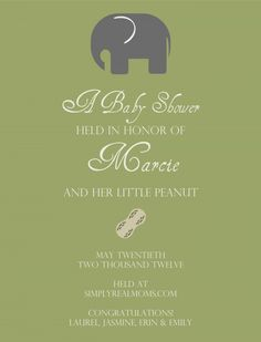 Baby shower invitation - Elephant and peanut theme, gender neutral! Too cute!