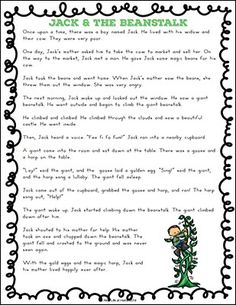Jack and the Beanstalk Story Printable - Free Printable from Real Life at Home Fairy Tale Activities, Circle Time Activities, Activities For Kids, Talk 4 Writing, Teaching Writing, Teaching Ideas, English Stories For Kids, English Story, English Lesson Plans