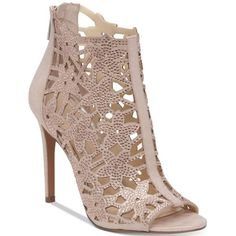 Jessica Simpson Gessina Embellished Peep-Toe Evening Sandals ($100) ❤ liked on Polyvore featuring shoes, sandals, nude blush, nude peep toe shoes, peep toe sandals, peep toe shoes, floral sandals and cage sandals