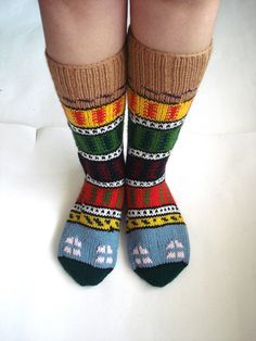 knit socks red green blue yellow Turkish Knitted by AnatoliaDreams