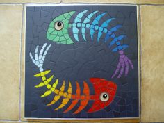 Fishes | Emilie Ollier Mosaic made for the book of Muriel Ligerot. 30cmx30cm, vitreous tiles, emaux de briare.