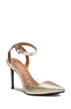 90b5791b449 Calvin Klein - Raffaela Snake Embossed Leather Wraparound Stiletto Sandal
