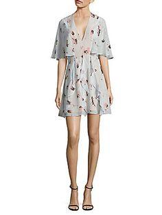 BCBGMAXAZRIA Silk Cape Dress