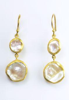 Lika Behar Double Keshi Pearl Drop Earrings