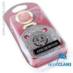 Colquhoun Clan Crest Plaid Brooch. Free worldwide shipping available.