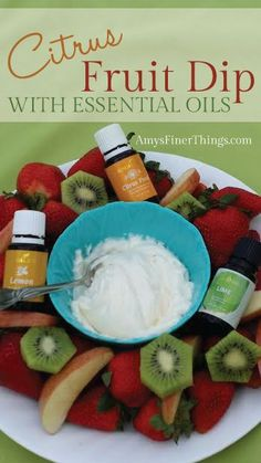 Young Living Essential Oils: Citrus Fruit Dip Recipe Ask me how to get your oils! Young Living Oils, Young Living Essential Oils, Easy Fruit Dip, Fruit Dips, Fruit Platters, Fruit Recipes, Drink Recipes, Cooking With Essential Oils, Doterra Recipes