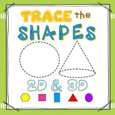 SHAPES: 2D and 3D Shapes Write and Wipe Cards (6 sets). Each set contains 24 shapes:  circle, square, rectangle, triangle, diamond, hexagon, trapezoid, oval, pentagon, octagon, rhombus, crescent, arrow, heart, star, semi-circle, parallelogram, cross, right triangle, isosceles triangle, cylinder, cube, sphere, cone. Differentiation:  Varying levels of difficulty; tracing, drawing and naming geometric figures.