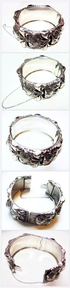 Art Nouveau Silver Cuff Bracelet Repousse Applied Floral Decorations BIG BOLD 1…