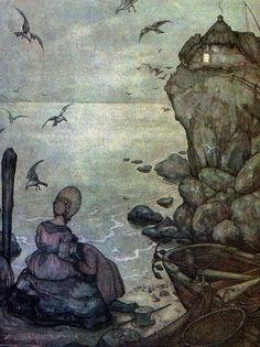 Woman Sitting By Cove Art by Anton Pieck Harry Clarke, Edmund Dulac, William Blake, Art And Illustration, Dutch Artists, Great Artists, Moritz Von Schwind, Anton Pieck, Vintage Gothic