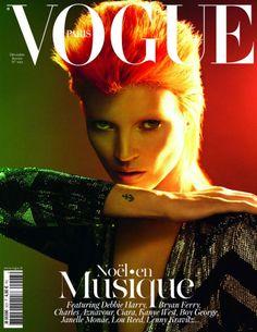 Kate Moss en David Bowie pour la couverture du numéro de Noël spécial musique de Vogue Paris, en kiosque le 5 décembre.