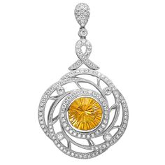 PM24476: This pendant is both stylish and versatile with its interchangeable center stone and 1.37ct premium cut round diamonds set in 18K white gold.
