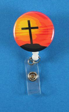 Sunset Cross Button Retractable Badge Reel, ID Badge Holder