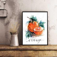 Orange Tangerine Art print, Kitchen Decor, Oranges Watercolor kitchen Art, Watercolor fruits, Orange Illustration, Tangerine illustration by sanketi on Etsy