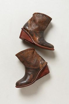 Perforated Wedge Booties    Anthropologie