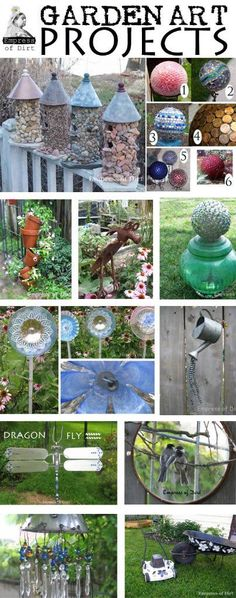 Garden art projects using recycled household items with free instructions. Glass garden art flowers and totems, birdhouses, garden spheres....