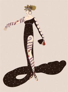 Egyptian influence in Art Deco artwork : illustration by ERTE, ( - ). Art Deco Artwork, Art Deco Posters, Moda Art Deco, Erte Art, Romain De Tirtoff, Illustration Art Nouveau, Art Deco Artists, Illustrator, Inspiration Art