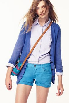 pair up your classic oxford with some pops of blue for a great spring layered look.