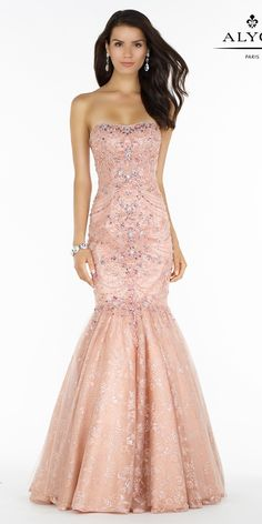 Strapless Embellished Lace Mermaid Dress 6755. Colors: Rose Cloud, Black, Red. Size: 00-12