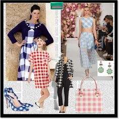 Gingham style by chicmisses on Polyvore featuring Dolce&Gabbana, Brooks Brothers, Diane Von Furstenberg, Betsey Johnson, Miu Miu and Laura Ashley