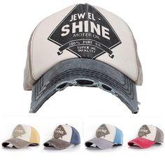 b717c6c3038dd Men Women Ball Cap Denim Distressed Bill Vintage Baseball Hat Trucker  Adjustable