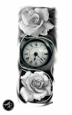 find and save the latest tattoo trends, from hand poked best friend tattoos, black and white pieces to shimmering flower motifs or Japanese . Time Clock Tattoo, Clock And Rose Tattoo, Clock Tattoos, Modern Tattoos, Trendy Tattoos, Small Tattoos, Rose Tattoos, Body Art Tattoos, Sleeve Tattoos