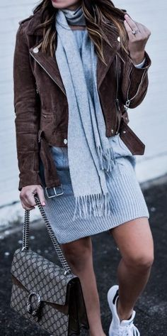 #winter #outfits /  Brown Suede Jacket / Grey Fringe Scarf / Grey Knit Dress