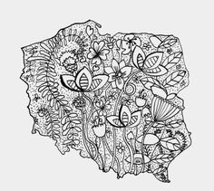 Adult Coloring, Coloring Pages, Woodland Flowers, Montessori, Diy And Crafts, Folk, Drawings, Activities, History