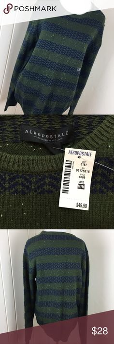 Aeropostale green and navy boyfriend sweater Brand new with $50 tags. Size medium in MENS so this is like a size large/extra large for women. This is a super cute sweater that will give you that 'relaxed boyfriend sweater' look. Aeropostale green and navy boyfriend sweater. Aeropostale Sweaters