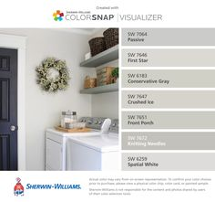 I found these colors with ColorSnap® Visualizer for iPhone by Sherwin-Williams: Passive (SW 7064), First Star (SW 7646), Conservative Gray (SW 6183), Crushed Ice (SW 7647), Front Porch (SW 7651), Knitting Needles (SW 7672), Spatial White (SW 6259).