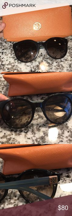 e53578df3331 Tory Burch sunglasses Tortoise shell sunglasses with blue accents from Tory  Burch. Comes with case