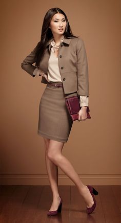 Ann Taylor suits are perfect for the office for anyone who prefers skirted dressing. Fashion equality in the workplace.