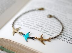 Swallow Birds Bracelet. Teal Blue and Brass Triple by LeChaim, $19.50