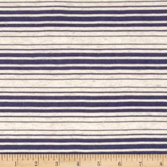 Sheer Yarn-Dyed Striped Jersey Knit Navy from @fabricdotcom  This very lightweight jersey knit fabric is perfect for creating stylish tops, tanks, and T-shirts. It has 25% stretch across the grain. It Features horizontal yarn-dyed stripes of sheer pearlized navy blue and heather cream.