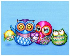 Family Portrait Illustration Funny Owl Family door AnnyaKaiArt