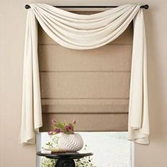 Home Design and Decor , Pretty Window Scarf Ideas : White Valance Window Scarf Ideas With Blind