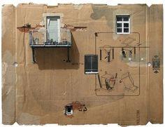 'Cardboards' o arte en forma de cartón reciclado,