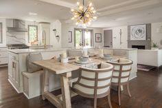 Living Room Kitchen, Home Decor Kitchen, Interior Design Kitchen, Kitchen Ideas, Dining Room, Diy Kitchen, Kitchen Sink, Dining Chairs, Dining Table