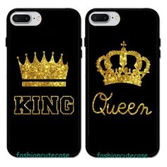 King & Queen Couple Rubber Phone Case Cover For iPhone 5 6S 7 8 Plus. #UnbrandedGeneric