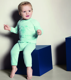 Knitted cotton playsuit with distinctive Baby Knight graphic from the Burberry S/S13 Childrenswear collection