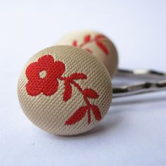 Red Flora Bobby pins by dkjewels on Etsy, $10.00