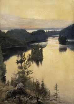 Albert Edelfelt, Kaukola Ridge at Sunset Finnish (1854-1905)