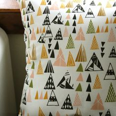 Triangle Pillow by Leah Duncan in ATX! Triangle Pillow, Triangle Print, Triangle Pattern, House Design Photos, Cool House Designs, Throw Pillow Covers, Throw Pillows, Pillow Fight, Printed Cushions