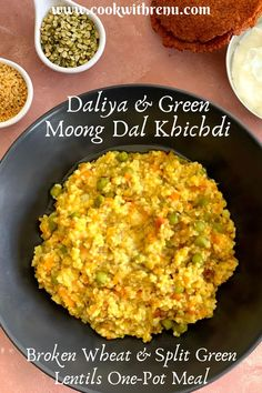 Daliya and Split Green Moong Dal khichdi (Broken Wheat and Split Green Moong Dal Khichdi) is an easy, quick and healthy one-pot meal that can be made in a jiffy. It is a filling and protein-rich… More Healthy One Pot Meals, Nutritious Meals, Quick Easy Meals, Healthy Eating, Healthy Food, Baby Food Recipes, Indian Food Recipes, Vegetarian Recipes, Healthy Recipes