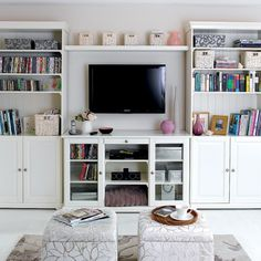 Cool 49 Simple But Smart Living Room Storage Ideas : 49 Smart Living Room Storage Ideas With White Wall Wooden Bookcase LED TV Books Cushion...